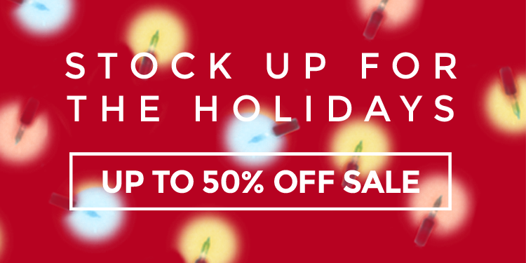 Stock Up Holiday Banner Up To 50% Off