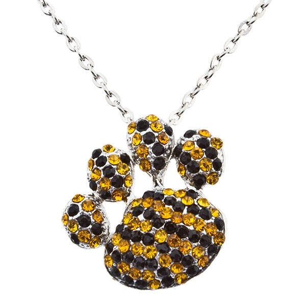"""20"""" silver tone necklace with a 1 1/2"""" paw pendant encrusted with yellow and black rhinestones."""