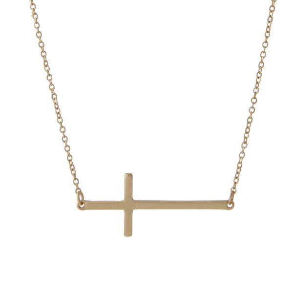 Wholesale matte gold chain necklace horizontal horizontal east west cross