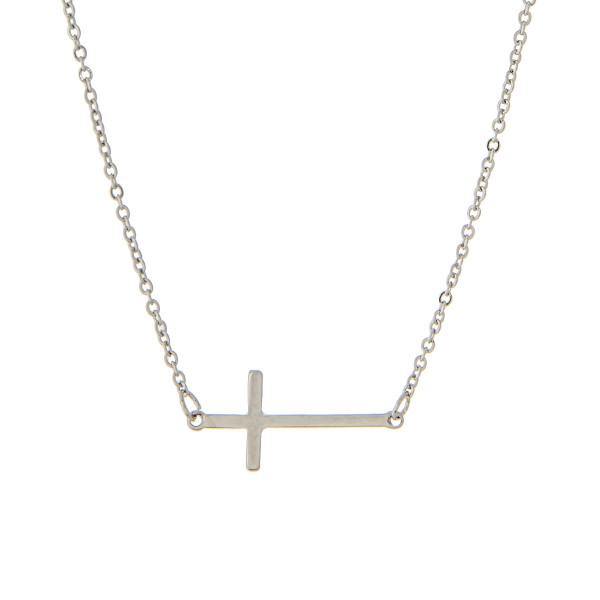 "16"" Silver tone chain featuring a small 1"" horizontal east-west cross focal."
