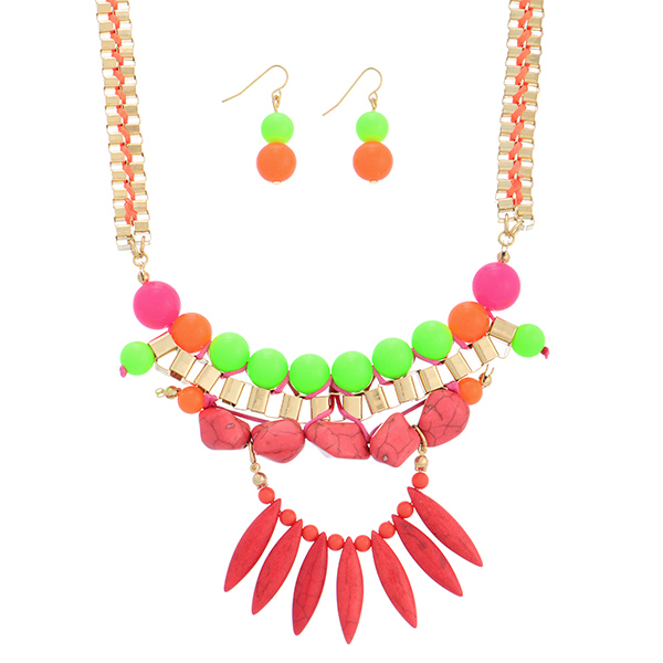 """15"""" gold tone box chain link necklace set featuring neon green, orange, and pink beads and coral stones. This necklace set has a 3"""" extender and 1 1/2"""" matching earrings."""