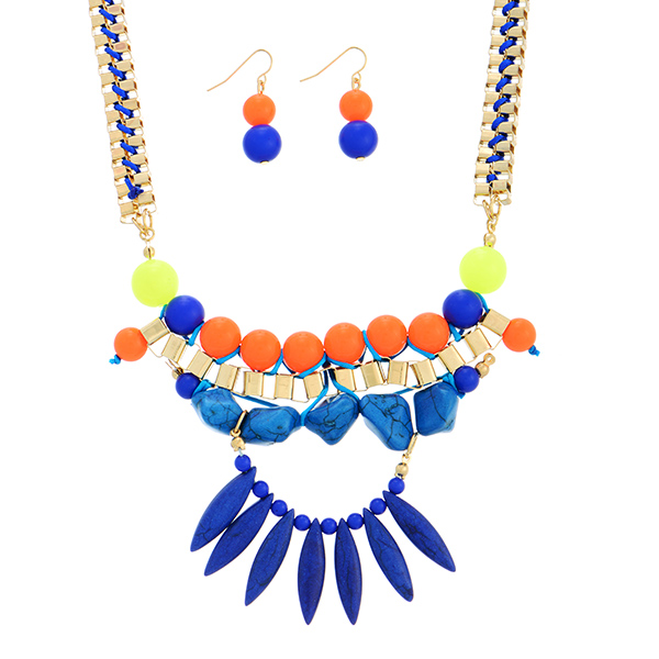 """15"""" gold tone box chain link necklace set featuring neon blue, orange, and yellow beads and navy blue stones. This necklace set has a 3"""" extender and 1 1/2"""" matching earrings."""