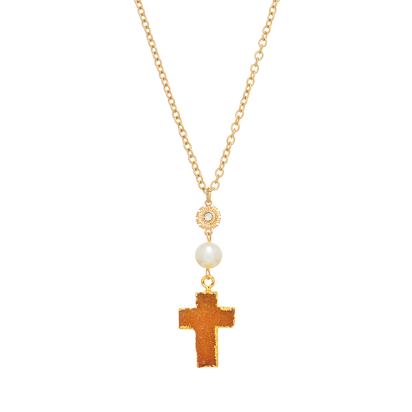 "Worn gold tone necklace featuring a citrine druzy quartz cross with faux ivory pearl accent. Approximately 34"" in length."