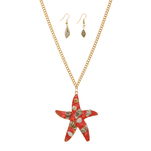 "Gold tone necklace set featuring a coral starfish pendant with sea shell accents. Approximately 31"" in length."
