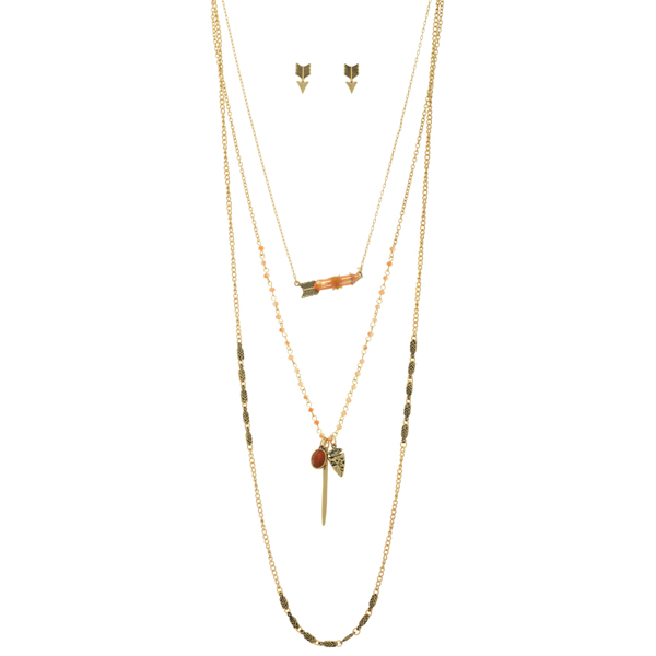 """Gold tone layering necklace set featuring peach beads, an arrow with a wire wrapped natural stone, an arrowhead and stick charm, and an orange cabochon. Approximately 31"""" in length."""