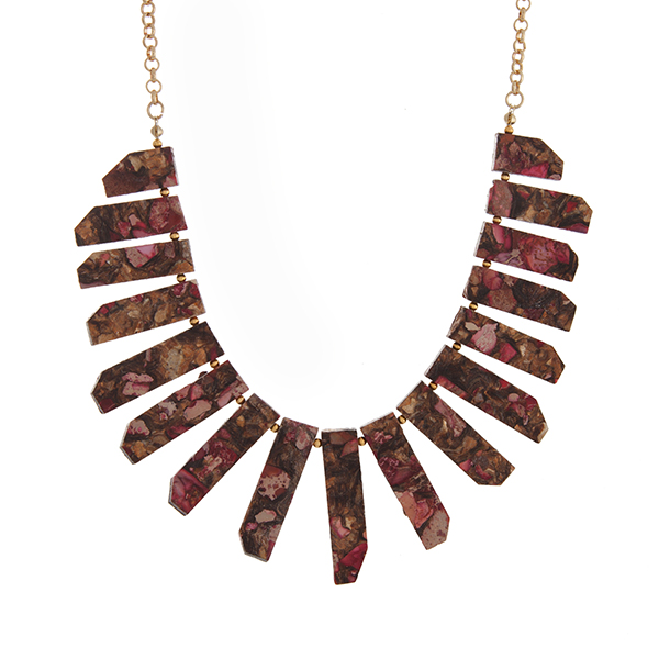 """Gold tone necklace with pink natural stone bars. Approximately 22"""" in length. Handmade in the USA."""