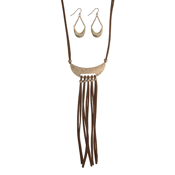 """Dark brown cord necklace set displaying a hammered crescent with fringe. Approximately 26"""" in length."""