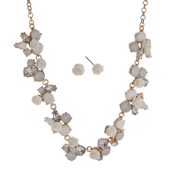 """Gold tone necklace set displaying ivory roses surrounded by multiple shaped mint cabochons. Approximately 17"""" in length."""