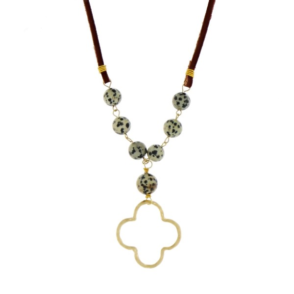 Brown leather cord necklace with dalmatian natural stone beads and a wholesale brown leather cord necklace dalmatian natural stone beads quatrefoil p aloadofball Choice Image