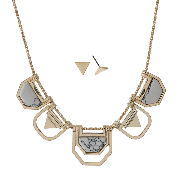 """Gold tone necklace set with geometric shapes and howlite stones. Approximately 18"""" in length."""