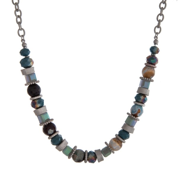 """Silver tone necklace with turquoise and gray beads. Approximately 18"""" in length."""