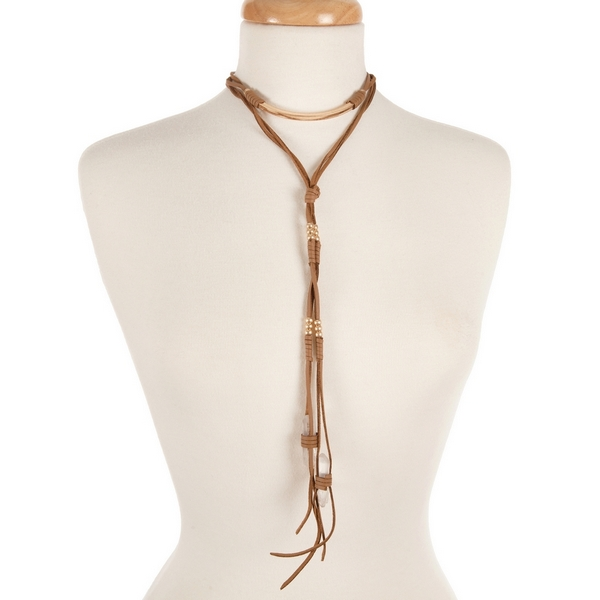 """Brown faux suede wrap choker necklace with gold tone hardware and clear crystals. Approximately 14"""" in length."""