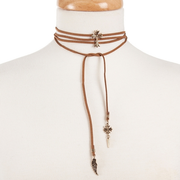 "Tan faux suede wrap choker necklace with a gold tone cross focal. Approximately 52"" in length."