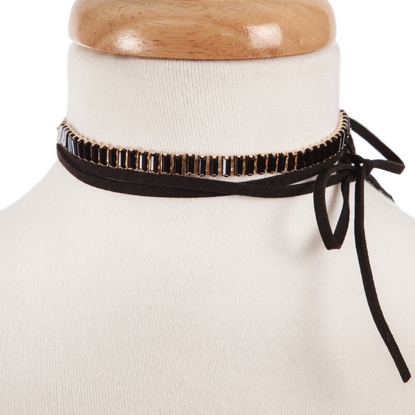 """Black suede wrap choker necklace set with black rhinestones. Approximately 68"""" in length."""