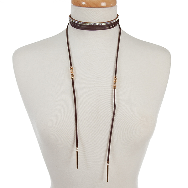 "Dark brown faux suede two piece choker set with a clear rhinestone and a wrap necklace. Choker is approximately 12"" in length and wrap necklace is 72"" in length."
