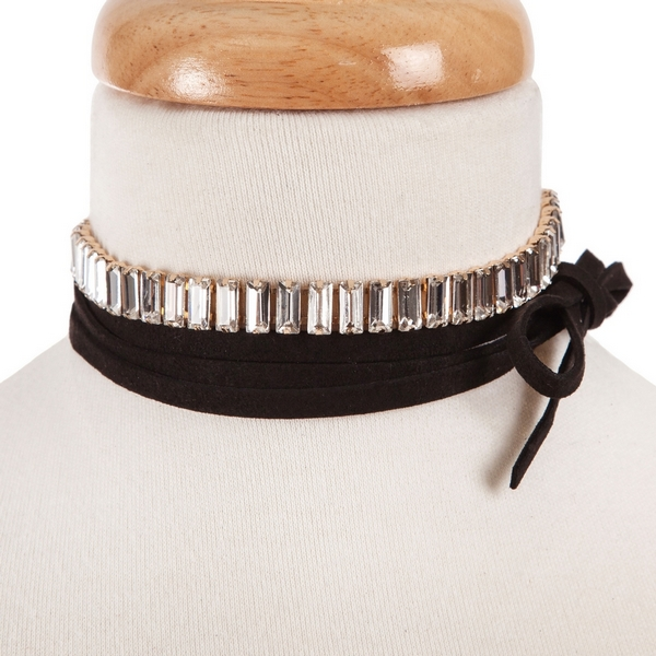 "Black faux suede wrap choker necklace with clear rectangle rhinestones. Approximately 80"" in length."