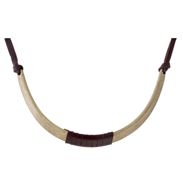 """Dark brown leather necklace with a burnished gold tone curved bar wrapped in leather. Approximately 14"""" in length."""
