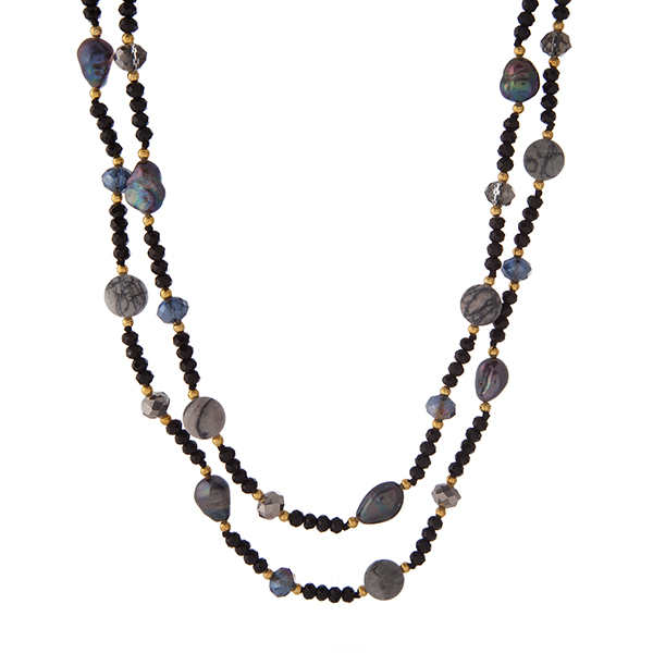 """Gold tone and black beaded necklace with freshwater pearls and matte gray jasper natural stones. Approximately 48"""" in length. Handmade in the USA."""