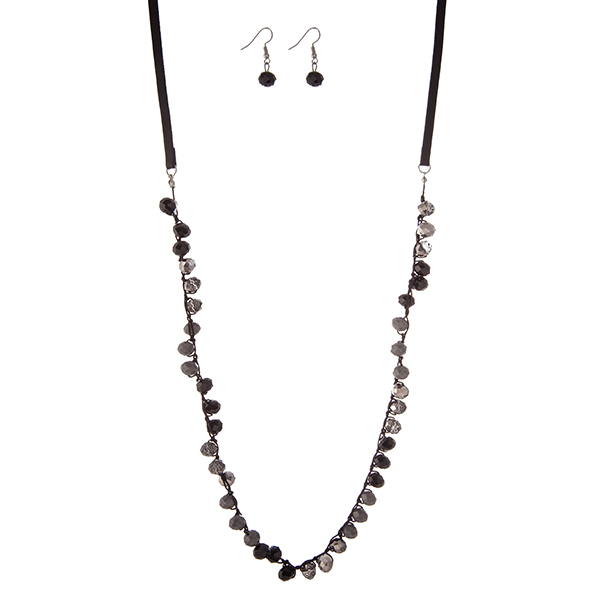 """Black faux cord necklace set with gray and black crocheted beads and matching fishhook earrings. Approximately 30"""" in length."""