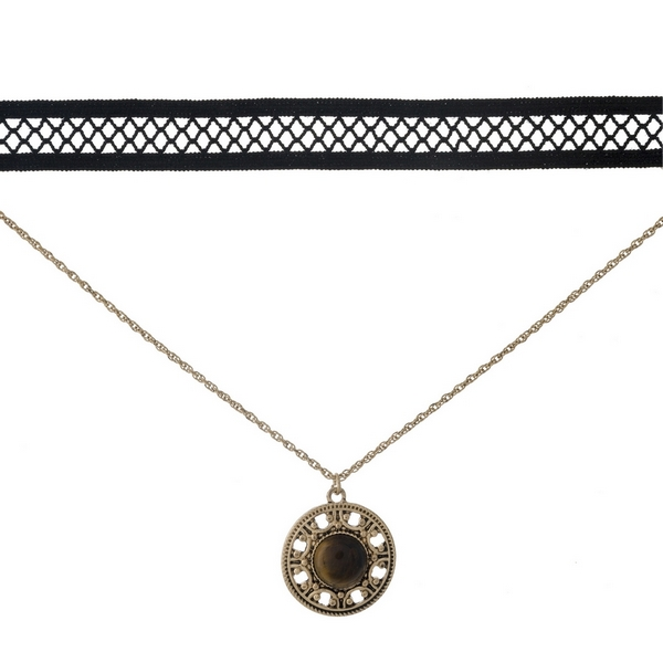 "Black and gold tone, double layer choker with a circle pendant, accented by a brown stone. Approximately 12"" in length."