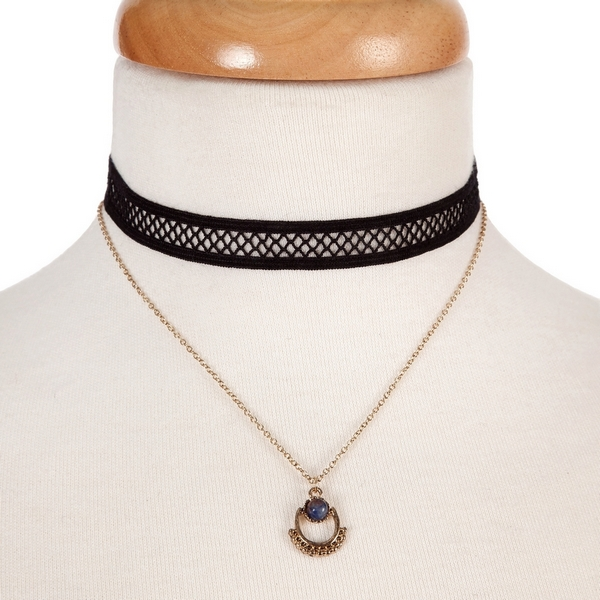 """Black and gold tone, double layer choker with a blue stone pendant. Approximately 12"""" in length."""