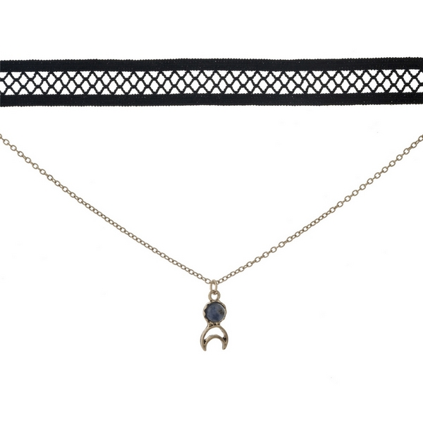"""Black and gold tone, double layer choker with a crescent cut out pendant, accented by a blue stone. Approximately 12"""" in length."""