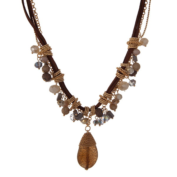 """Brown cord and gold tone necklace with gray, ivory and bronze beads. Approximately 16"""" in length."""