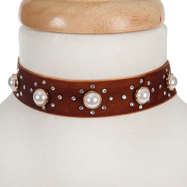 """Brown velvet choker with pearl beads and clear rhinestone accents. Approximately 12"""" in length and 1"""" in width."""