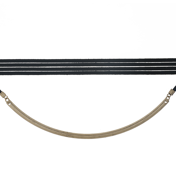 """Black, faux leather wrap choker necklace with a matte gold tone curved bar. Approximately 80"""" in length."""