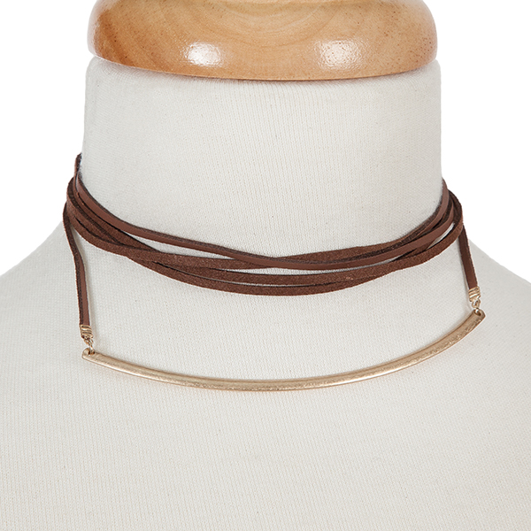 """Brown, faux leather wrap choker necklace with a matte gold tone curved bar. Approximately 80"""" in length."""