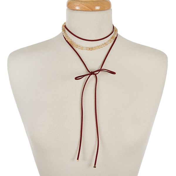 Wholesale burgundy faux suede beige natural stone beaded wrap choker gold accent