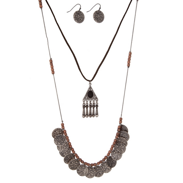 """Brown faux suede and silver tone necklace set with textured circle charms and a black stone. Approximately 27"""" in length."""