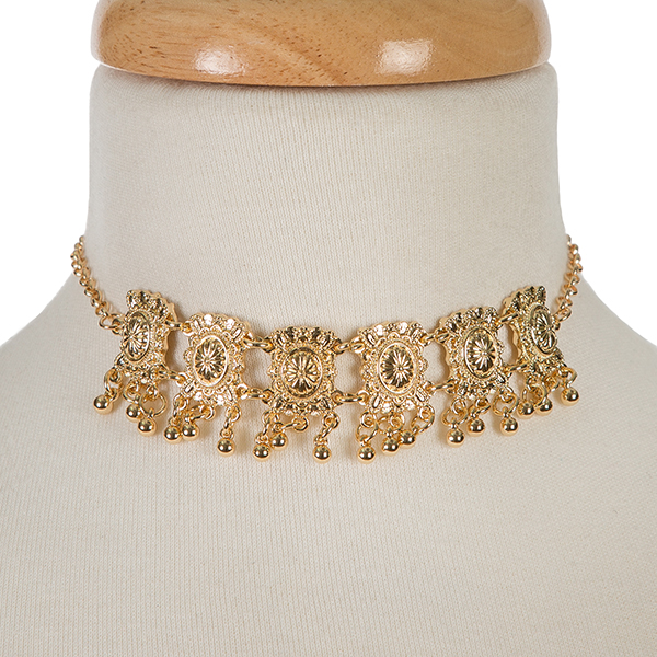"""Gold tone metal choker with matching stud earrings. Approximately 12"""" in length."""
