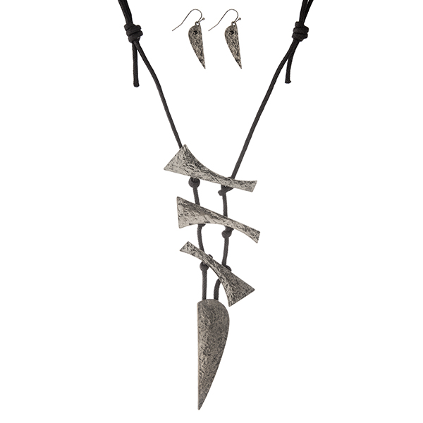 """Black cord necklace with a hammered silver tone, geometric pendant. Approximately 30"""" in length."""