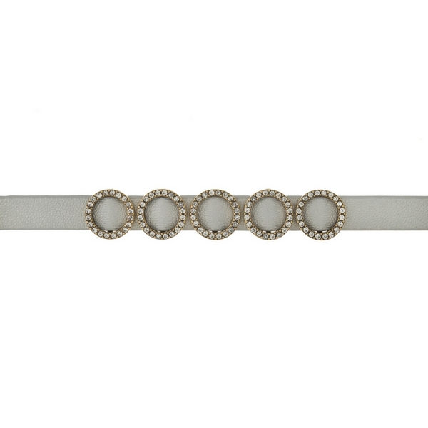 """Gray, faux leather choker with gold tone circles and clear rhinestone accents. Approximately 12"""" in length."""