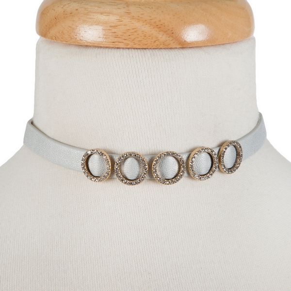 "Gray, faux leather choker with gold tone circles and clear rhinestone accents. Approximately 12"" in length."
