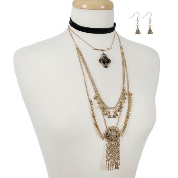 """Black and gold tone statement, layered choker with matching fishhook earrings. Approximately 12"""" in length."""