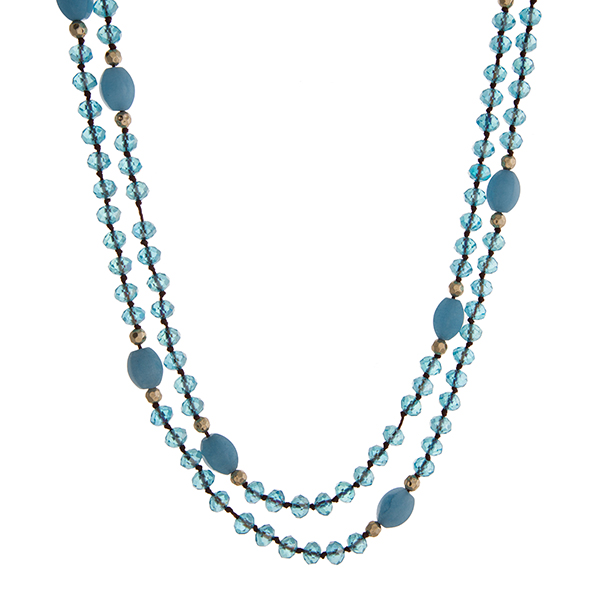 "Blue beaded wrap necklace. Approximately 60"" in length."