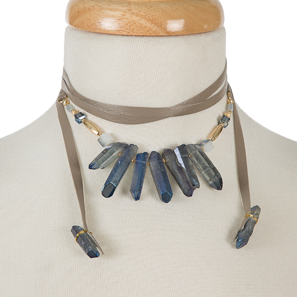 Wholesale gray leather wrap necklace blue iridescent crystals gold accents