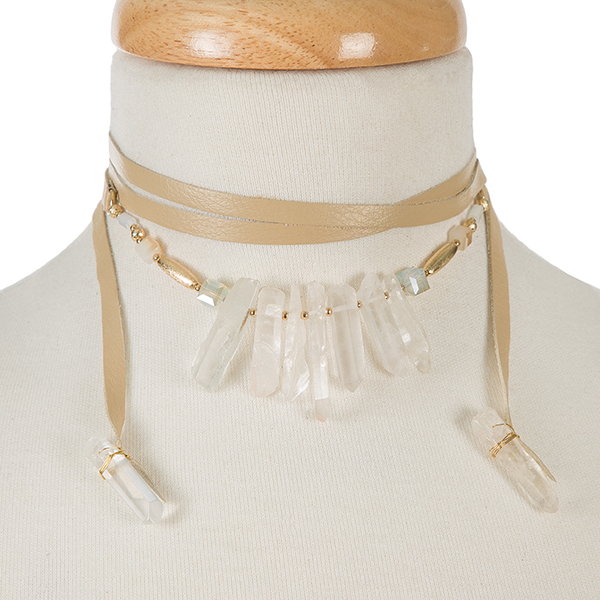 Wholesale beige leather wrap necklace white crystals gold accents