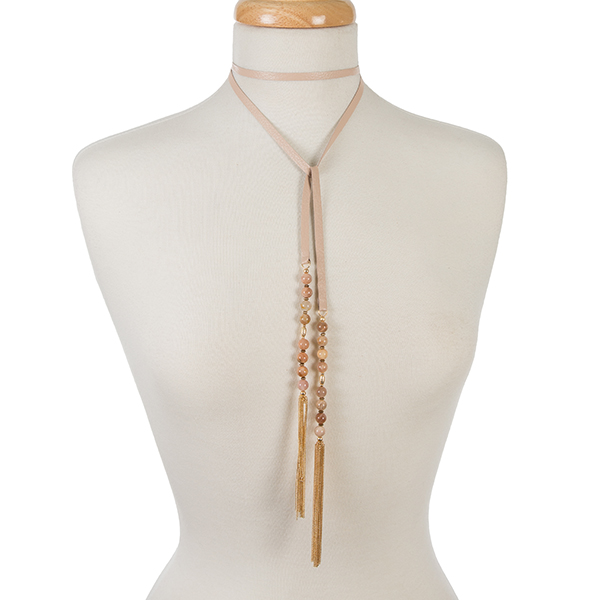 Wholesale pink leather wrap necklace peach beads chain tassels