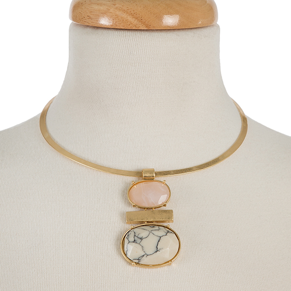Wholesale gold metal choker pink white two stone pendant diameter