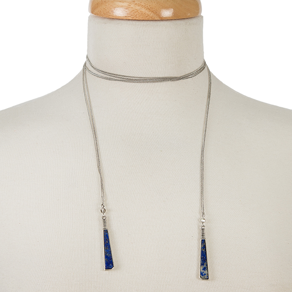"Dainty silver tone wrap necklace with natural stones on the ends. Approximately 52"" in length."