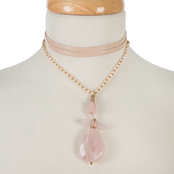 Wholesale gold pink leather wrap choker necklace three stone pink pendant