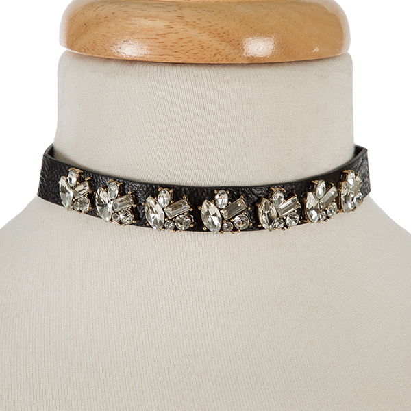 "Black faux leather choker with clear rhinestones. Approximately 12"" in length."