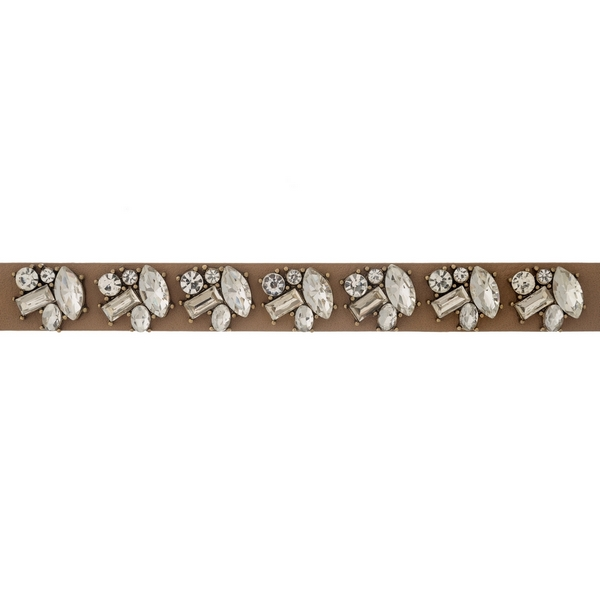 "Brown faux leather choker with clear rhinestones. Approximately 12"" in length."