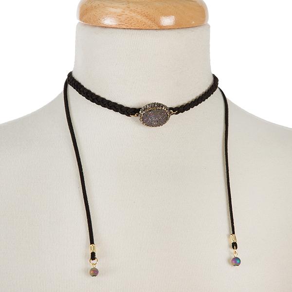 Wholesale black braided cord choker iridescent druzy stone Adjustable up Handmad