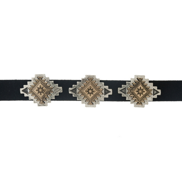 """Black faux suede choker with two tone bohemian focals. Approximately 12"""" in length."""