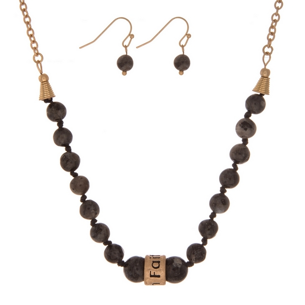 "Labradorite, natural stone beaded necklace with a gold tone bead stamped with ""Faith"" and matching fishhook earrings."