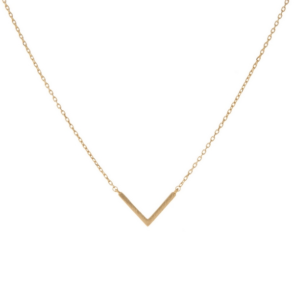 Wholesale dainty gold necklace small geometric pendant V adjusts